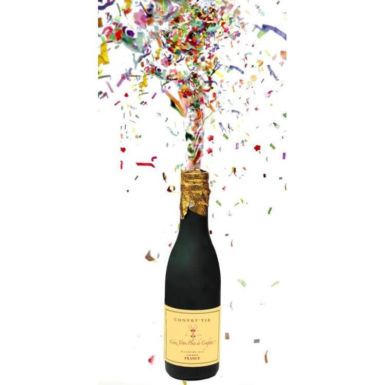 bouteille champagne confettis m ga f te. Black Bedroom Furniture Sets. Home Design Ideas