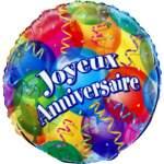 Ballon métal alu imprimé joyeux anniversaire