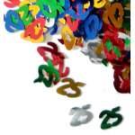Confettis chiffre 25 multicolores