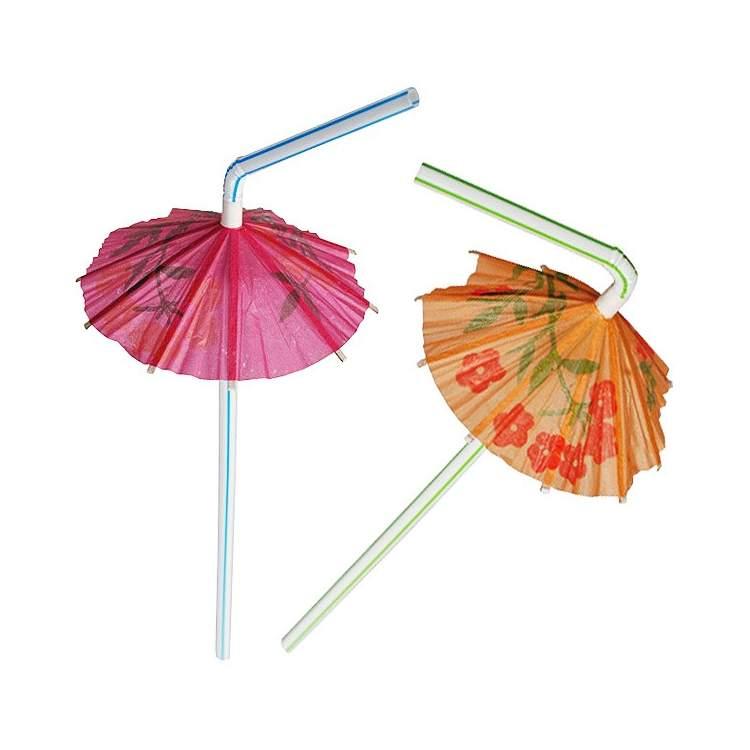 8 pailles plastiques avec parasol   méga fête