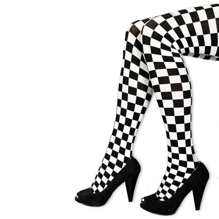 collants damier noir et blanc m ga f te. Black Bedroom Furniture Sets. Home Design Ideas